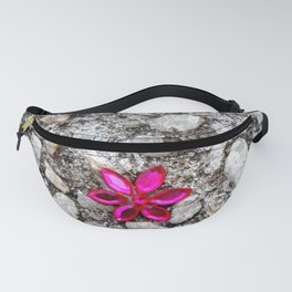 Pink Flower on Pebble Pavement Fanny Pack