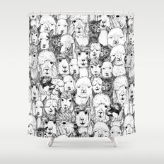 just alpacas black white Shower Curtain