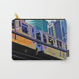 Chicago 'L' in multi color: Chicago photography - Chicago Elevated train Carry-All Pouch