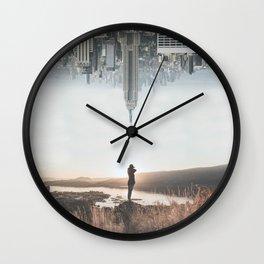 Between Earth & City Wall Clock