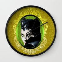 maleficent Wall Clocks featuring Maleficent by Tish