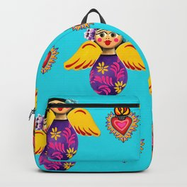 Angels and Hearts Turquoise Backpack