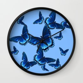 DECORATIVE PATTERNED BLUE on BLUE  BUTTERFLY FLOCK Wall Clock