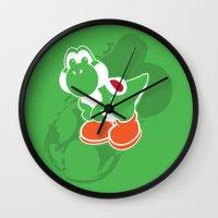 yoshi Wall Clocks featuring Yoshi by Amanda Blauser