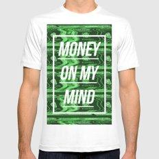 Money On My Mind White Mens Fitted Tee MEDIUM