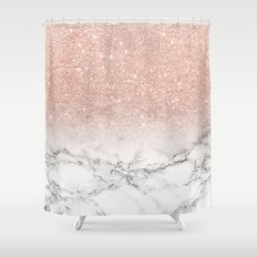 Modern faux rose pink glitter ombre white marble Shower Curtain