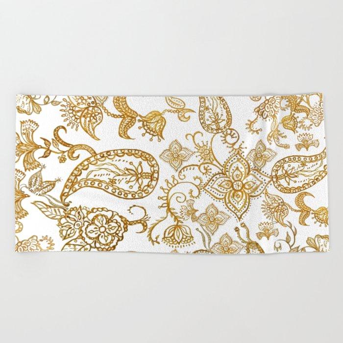 India henna pattern Beach Towel