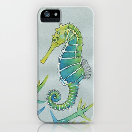 Neon Seahorse iPhone Case