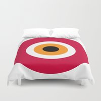 evil eye Duvet Covers featuring evil eye, red, by Gorgeous Graphic Design
