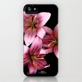 Pretty Pink Ant Lilies, Flowers Scanography iPhone Case