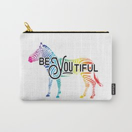 """""""BeYOUtiful"""" - Colorful Zebra Design Carry-All Pouch"""