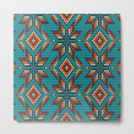 Modern colorful beaded boho aztec kilim pattern on teal Metal Print