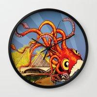 milwaukee Wall Clocks featuring MILWAUKEE: What's Kraken, Milwaukee? by Amanda Iglinski