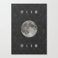 moon phase Canvas Prints featuring Geometric Moon Phase (black) by Moonbeam