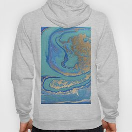 marble stone turquoise and gold Hoody