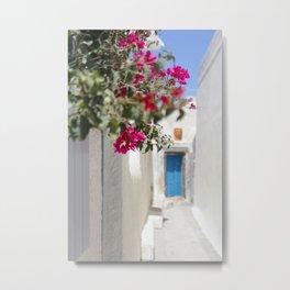 Blue Door with Pink Flowers Santorini Greece Metal Print