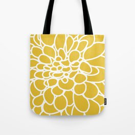 Mustard Yellow Modern Dahlia Flower Tote Bag