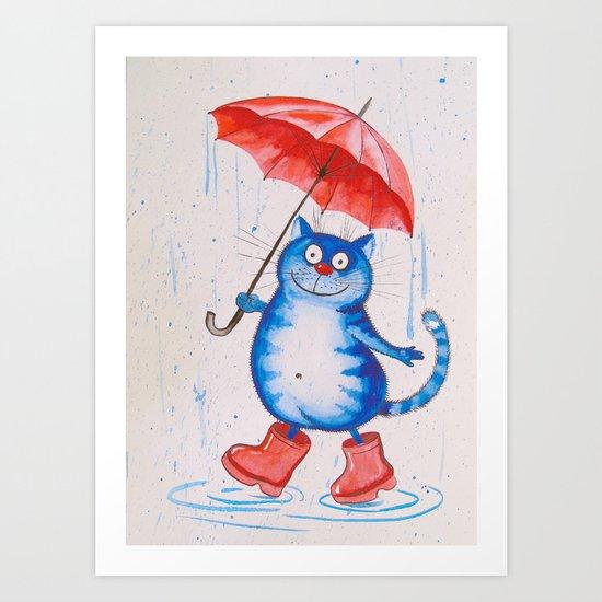 Cat in the rain Art Print