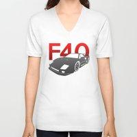 ferrari V-neck T-shirts featuring Ferrari F40 by Vehicle