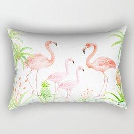 Watercolor flamingo family art print Rectangular Pillow