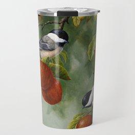 Chickadees and Apple Tree Harvest Travel Mug