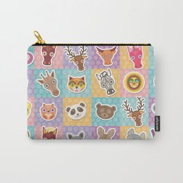 funny animals muzzle pattern with pink lilac blue orange square Carry-All Pouch