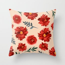 Red Flowers Watercolor Vintage Floral Pattern  Throw Pillow