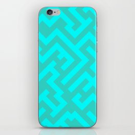 Cyan and Turquoise Diagonal Labyrinth iPhone Skin