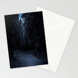 lone wolf in the darkness forest Stationery Cards