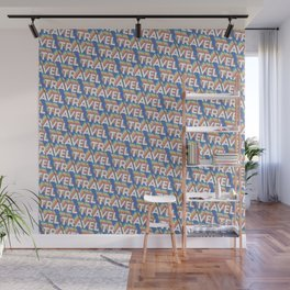 'Travel' Trendy Rainbow Text Pattern (Blue) Wall Mural