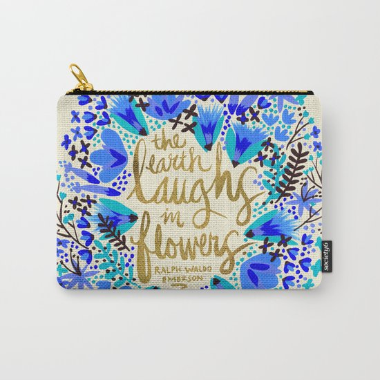 The Earth Laughs in Flowers – Gold & Blue Carry-All Pouch
