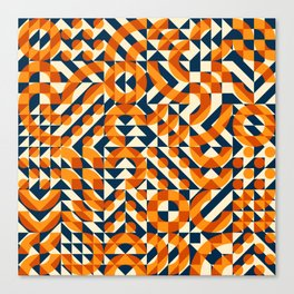 Orange Navy Color Overlay Irregular Geometric Blocks Square Quilt Pattern Canvas Print
