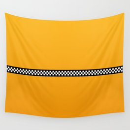 NY Taxi Cab Yellow with Black and White Check Band Wall Tapestry