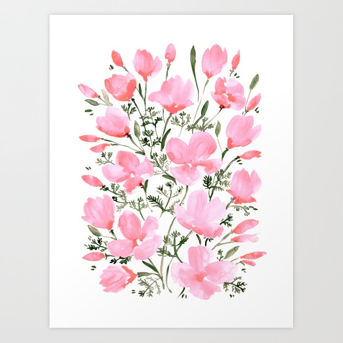 Pink watercolor California poppies Kunstdrucke