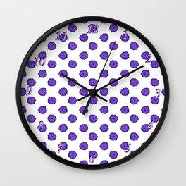 Purple flowers on white Wall Clock
