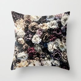 Flower Wall // Desaturated Vintage Floral Accent Background Jaw Dropping Decoration Throw Pillow