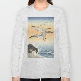 Japanese Seagull Woodblock Print by Ohara Koson Long Sleeve T-shirt