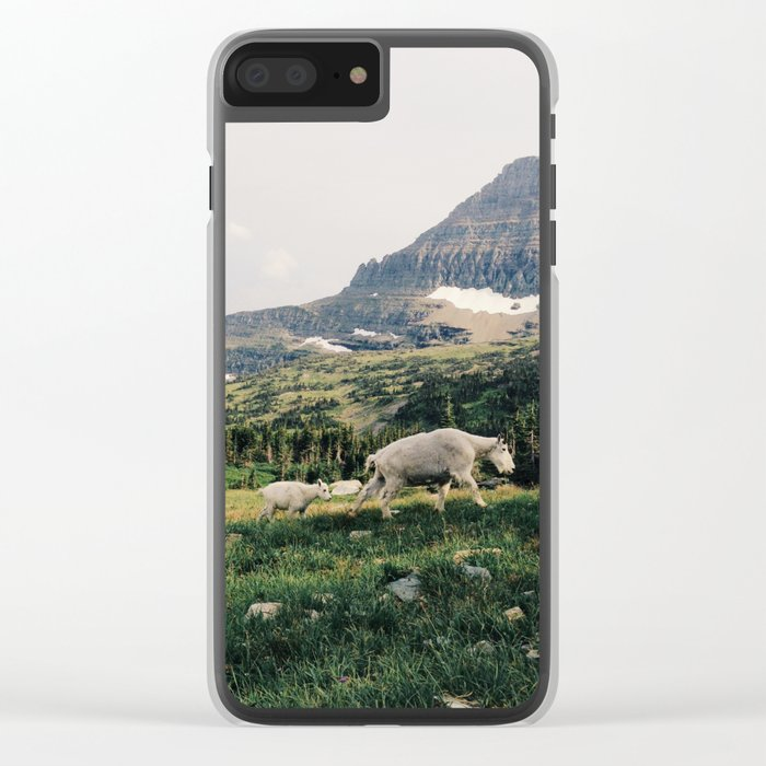 Montana Mountain Goat Family Clear iPhone Case