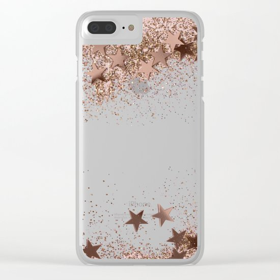 SHAKY STARS ROSEGOLD Clear iPhone Case