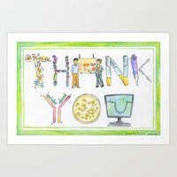 biology Art Prints featuring Biology Thank You card by SaelifeStudio