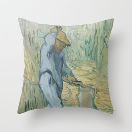 The Woodcutter (after Millet) Throw Pillow