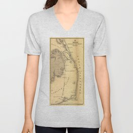 Vintage Map of The Outer Banks (1862) Unisex V-Neck