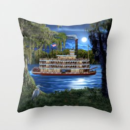 Mystcal Moonlight Cruise Down the Bayou Throw Pillow