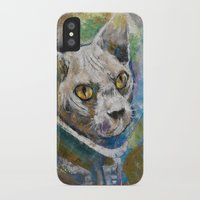 space cat iPhone & iPod Cases featuring Space Cat by Michael Creese