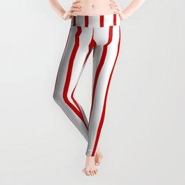 Vertical Red Stripes Pattern Leggings