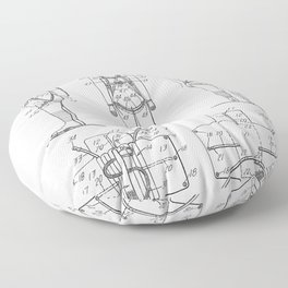 Parachute Pack Patent - Sky Diving Art - Black And White Floor Pillow