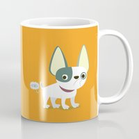 frenchie Mugs featuring Frenchie by Fabio Rex