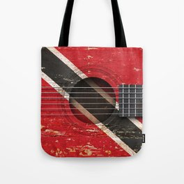 Old Vintage Acoustic Guitar with Trinidadian Flag Tote Bag