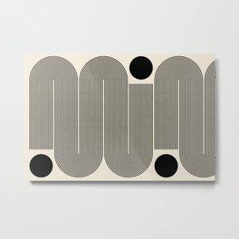 Abstraction_LINE_BLACK_DOT_VISUAL_ART_Minimlism_001A Metal Print