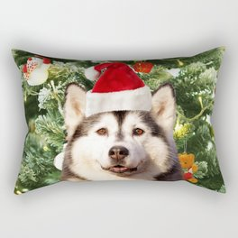 Santa Hat Siberian husky Christmas Tree Snowman Gift Box Rectangular Pillow